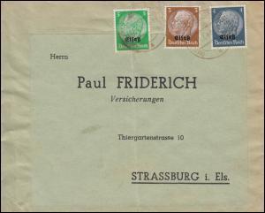 Elsaß 1-3 Hindenburg mit Aufdruck 3, 4, und 5 Pf. MiF auf Brief Strassburg 1941
