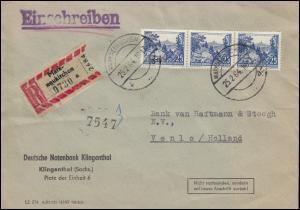 816 Brocken im Oberharz 25 Pf MeF auf R-Brief MARKNEUKIRCHEN 25.2.64 nach Venlo