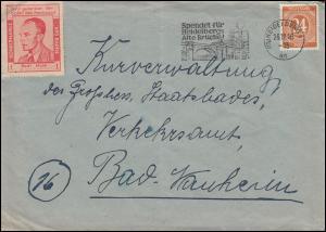Spendenmarke Rudi Maus auf Brief HEIDELBERG 26.11.46 nach Bad Nauheim