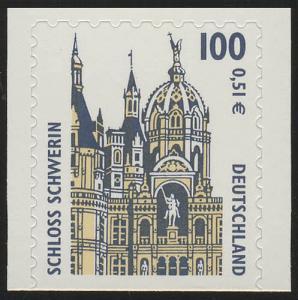 2188BD SWK 100 Pf/0,51 Euro unten geschnitten sk Schloß Schwerin, **