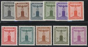 155-165 Adler auf Sockel 1942/1944, OHNE WZ, Satz 11 Werte ** / postfrisch / MNH