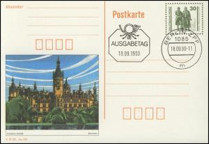 P 109/3 Goethe/Schiller: Schloß Schwerin 1990 30 Pf, VS-O Berlin ZPF 18.9.90