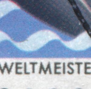 1239I Sport 120 Pf mit PLF I unten verkürztes T in WELT-, Feld 30, gestempelt