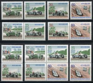 397-400 AVUS-Rennen 1971 aus Block 3 mit 5 ZD und 4 Einzelmarken, Set **