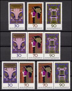 923-925 aus Block 14 Jugendstil 1977, 3 ZD + 3 Ezm, Zusammendruck-Set **