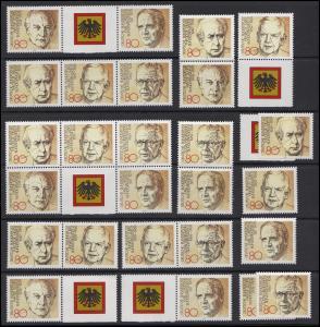 1156-1160 aus Block 18 Demokratie 1983, 10 ZD+ 5 Ezm+ZF, Zusammendruck-Set **