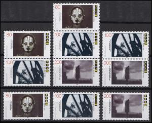 1815-1817 aus Block 33 Deutscher Film, 3 ZD + 3 Ezm, Zusammendruck-Set **