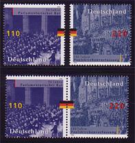 1986-1987 Verfassung 1998 aus Block 43, 1 ZD + 2 Ezm, Zusammendruck-Set **