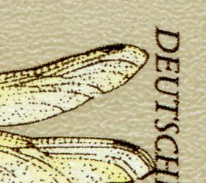 1551II Libellen 80 Pf mit PLF II oben gebrochener rechter Flügel, Feld 50, **