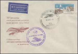 1. Deutsche Luftpost Bork-Brück 1912-1962 Blanko-Brief EF SSt BORKHEIDE 18.2.62