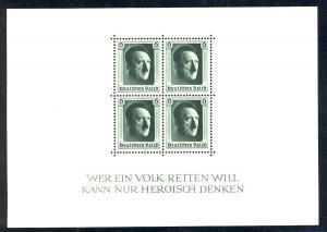 Block 7 Geburtstag Hitlers, GEZÄHNT, postfrisch **