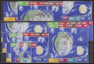 926-933 Weltraumflug 1962, 16 Zusammendrucke + 8 EZM kpl., Set postfrisch **