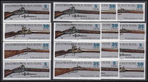 2376-2381 Jagdwaffen aus Suhl, 12 Zusammendrucke und 6 Ezm, Set postfrisch **