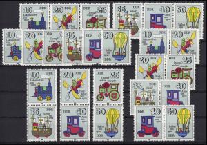 2566-2571 Historisches Spielzeug, 9 Zusammendrucke + 6 Ezm, Set postfrisch