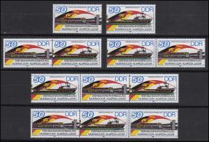 3052-3053 Eisenbahnfähre, 4 Zusammendrucke + 2 Ezm, Set postfrisch **