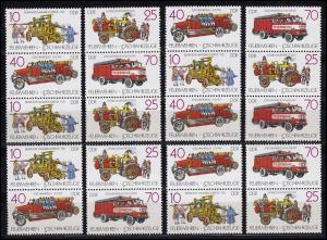 3101-3104 Feuerwehren Löschfahrzeuge, 16 Zusammendrucke + 4 Ezm, Set postfrisch