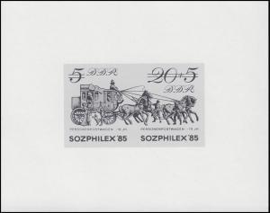 Schwarzdruck der DDR Sozphilex 1985 Postkutsche Zusammendruck 2965-66 S