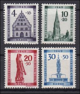 38-41A Baden Wiederaufbau, Satz gezähnt **