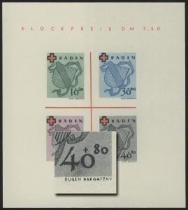 Block 2 Baden Rotes Kreuz Type II/II (*) original wie verausgabt