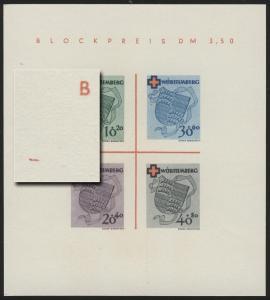 Block 1 Württemberg Rotes Kreuz Type I (*) original wie verausgabt