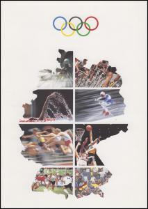 1592-1595 Sporthilfe EB 1/1992 - Gedenkblatt der Post
