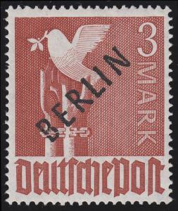 19X Schwarzaufdruck 3 M. - PLF X: 2 Brüche im B von BERLIN **