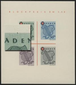 Block 2 Baden Rotes Kreuz Type I/III (*) original wie verausgabt