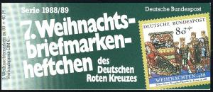 DRK/Weihnachten 1988/89 Geburt Christi 80 Pf, 5x1396 7.MH ESSt Bonn
