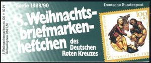 DRK/Weihnachten 1989/90 Geburt Christi 100 Pf, 5x1443 8.MH ESSt Bonn