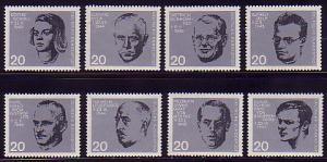 431-438 Einzelmarken aus Block 3 Widerstand 20. Juli 1944, 8 Werte, Satz **
