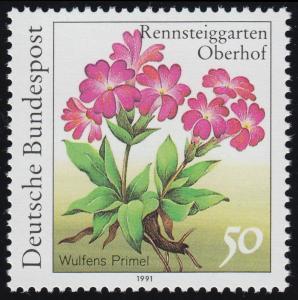 1506F Rennsteiggarten Wulfens Primel 50 Pf. OHNE Fluoreszenz, Papier-Abart **