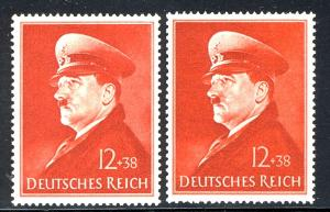 772 x+y Hitlers 52. Geburtstag - Gummierungsvarianten - Set **