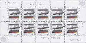 2128 Zeppelin-Luftschiff und Graf von Zeppelin - 10er-Bogen **