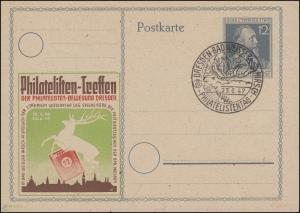 SSt DRESDEN - BAD WEISSER HIRSCH Philatelistentag 23.6.47 auf Schmuck-PK P 965