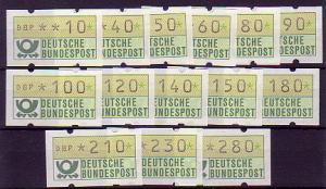 1.1I ATM Type I (14 Werte 10-280) ohne Nummer, Satz **