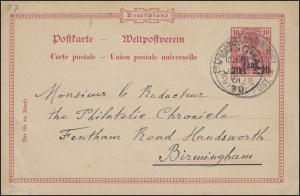 Türkei Postkarte P 7 Germania 20 Para CONSTANTINOPEL 4.6.1901 nach BIRMINGHAM