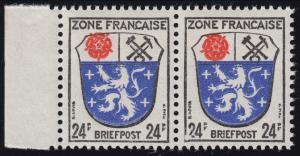 9I Wappen 24 Pf Randpaar mit PLF I Rahmenbruch und beschädigte 2, Feld 72, **