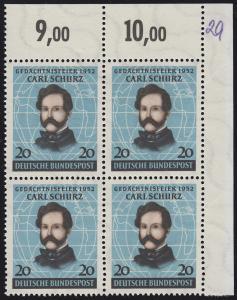 155 Carl Schurz 1952 - Eckrand-Viererblock oben rechts ** beschriftet