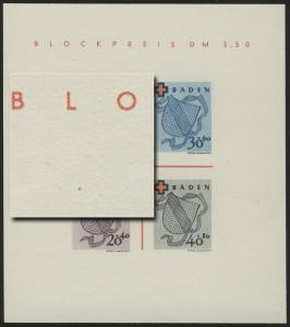 Block 2 Baden Rotes Kreuz Type I/V (*) original wie verausgabt