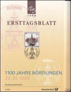 Ersttagsblätter ETB Bund Jahrgang 1998 Nr. 1 - 40 komplett
