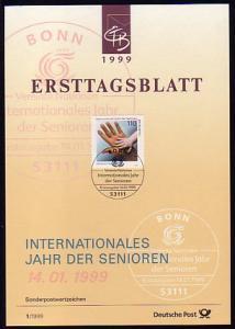 Ersttagsblätter ETB Bund Jahrgang 1999 Nr. 1 - 39 komplett