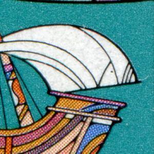 1608 Europa 60 Pf im ER-Paar mit PLF Punkt im rechten Segel, Feld 5, gestempelt