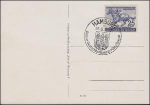 814 Das Blaue Band 1942 auf AK Gruss von St. Pauli mit SSt HAMBURG 26.6.42