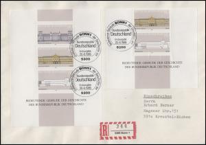 Block 20 Demokratie Gebäude mit Blockteil 1288-1289 auf R-FDC ESSt Bonn 20.6.86