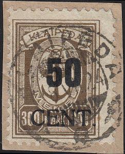 Memel 198 Aufdruck 50 Cent auf 300 Mark 1923, O geprüft