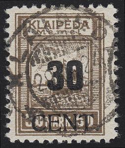 Memel 194 Aufdruck 30 Cent auf 50 Mark 1923, O geprüft