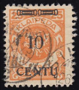Memel 169A I Aufdruck schwarz 10 C auf 25 Mark, gestempelt