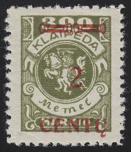 Memel 167A I Aufdruck rot 2 C auf 300 Mark, ** postfrisch