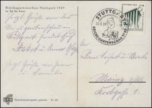 692 Gartenschau 5 Pf EF AK Tal der Rosen SSt STUTTGART Reichsgartenschau 20.8.39