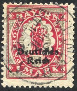 129 Aufdruck-Marke 1 M. - mit markanter Passerverschiebung, Nürnberg 3.7.20